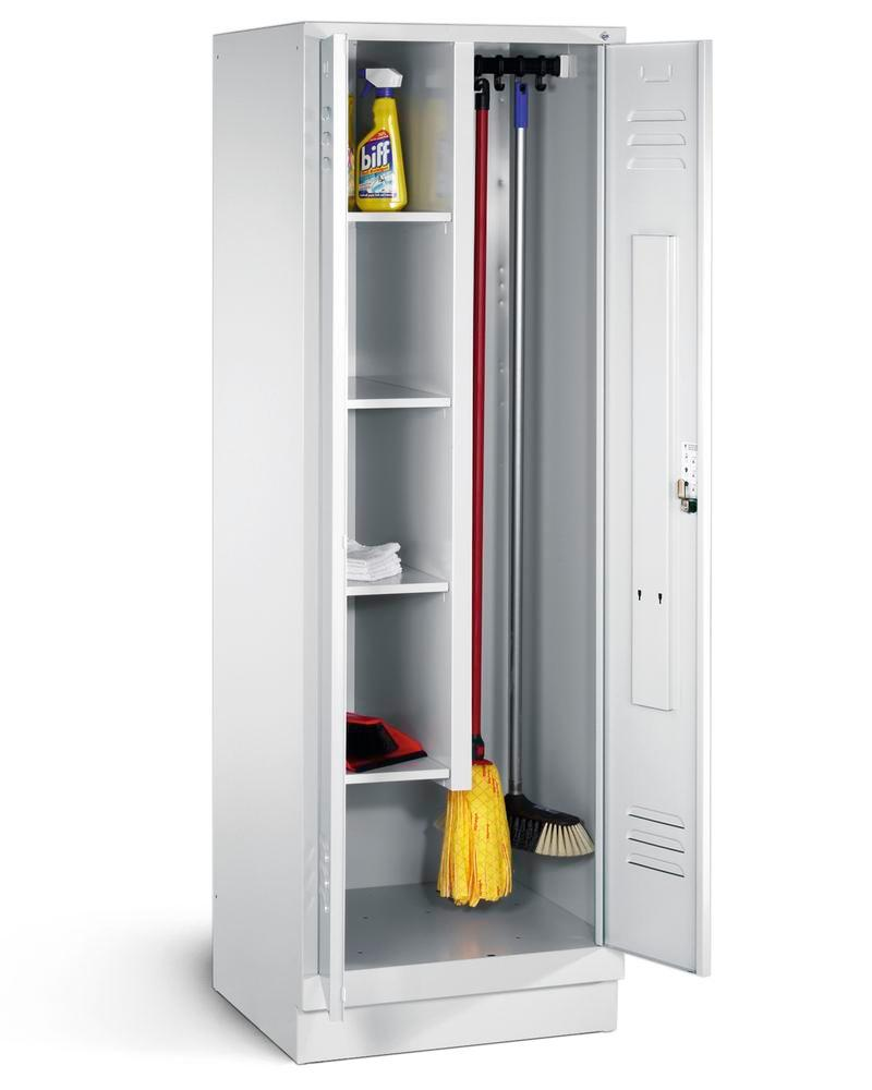 Linen/cleaning cabinet Cabo 4 shelves and sliding hooks, W 610, D 500, H 1800 mm, base, grey
