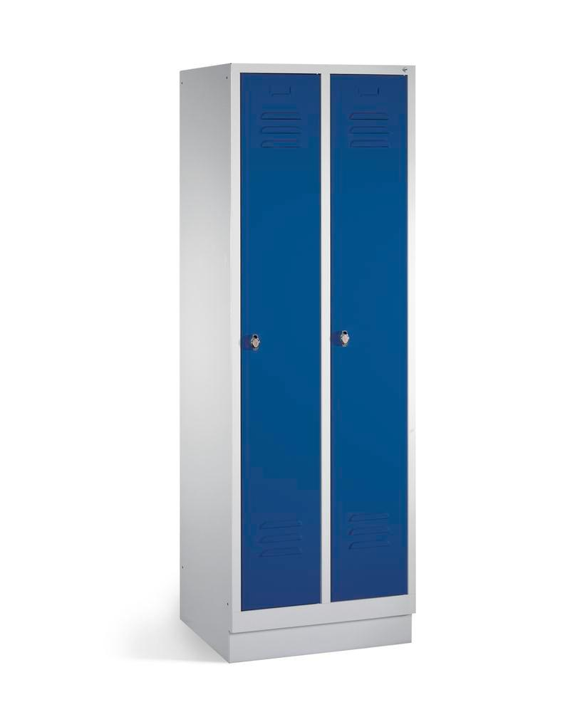 Locker Cabo, 2 compartments, W 610, D 500, H 1800 mm, base, grey/doors blue