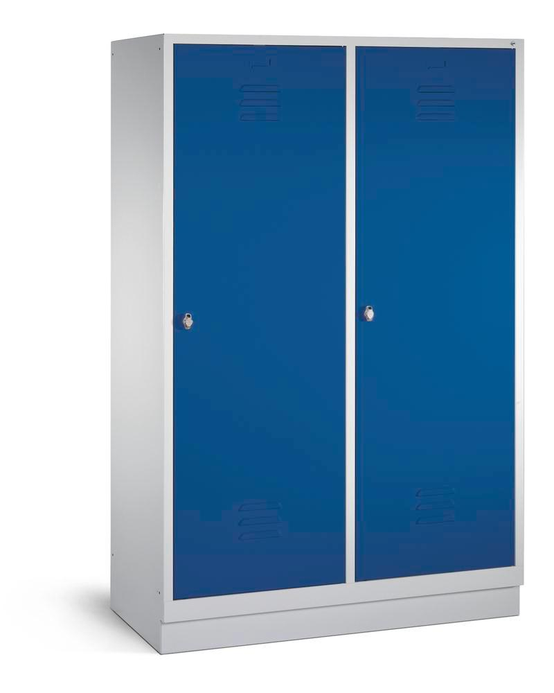 Locker Cabo, 4 compartments, W 1190, D 500, H 1800 mm, base, grey/blue, 2 door