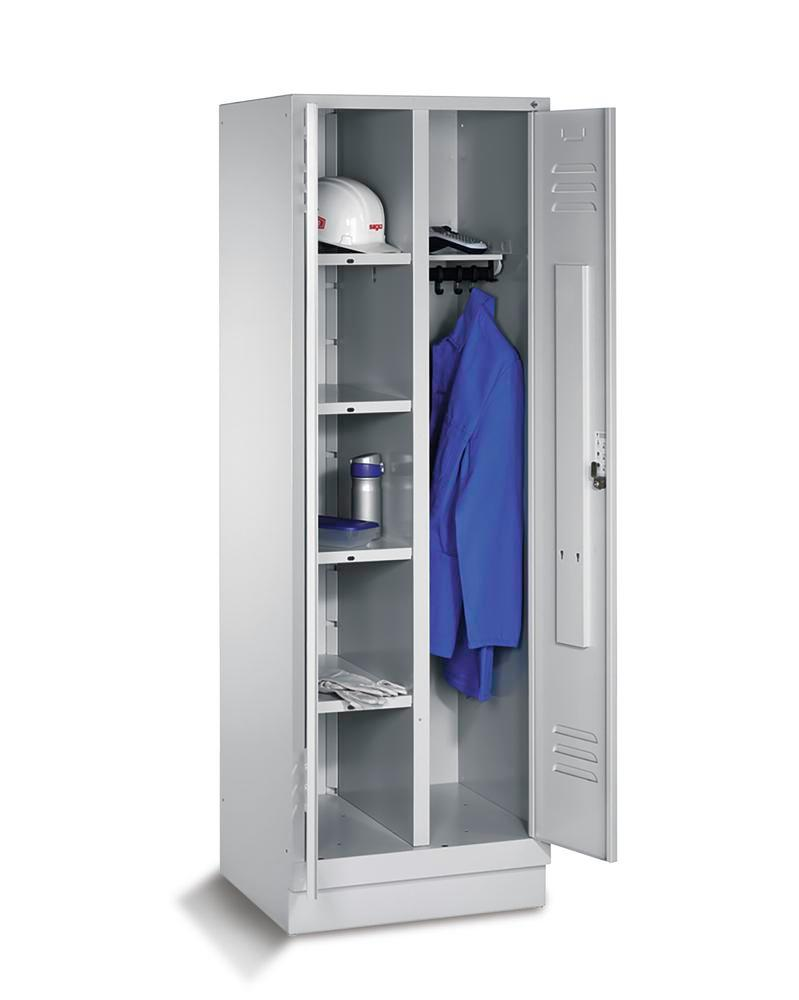 Locker Cabo 4 shelves and clothes rail, W 610, D 500, H 1800 mm, base, grey