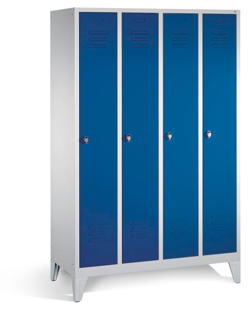 Locker Cabo, with 4 compartments, W 1190, D 500, H 1850 mm, with feet, grey/doors blue