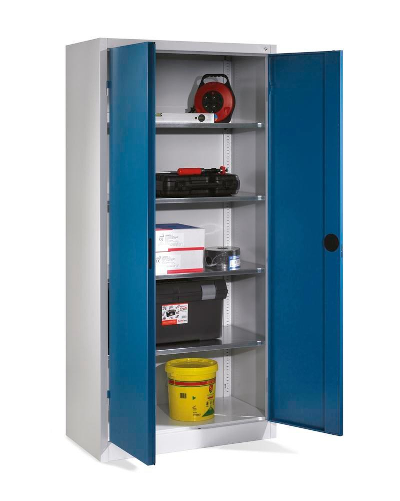 Tooling and equipment cabinet Cabo Heavy duty, 4 shelves, W 930, D 500, H 1950 mm, grey, doors blue