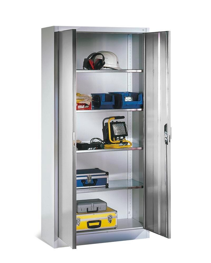 Tooling and equipment cabinet Cabo, with 4 shelves, W 930, D 400, H 1950 mm, grey