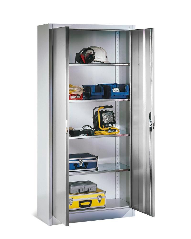 Tooling and equipment cabinet Cabo, with 4 shelves, W 930, D 500, H 1950 mm, grey
