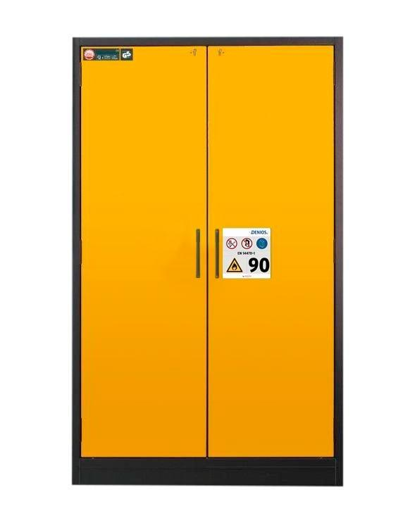 asecos fire-rated hazardous materials cabinet Select W-123, 3 shelves, doors yellow