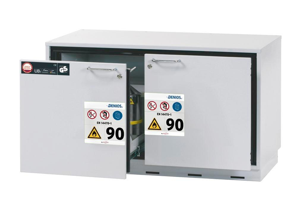 Fire-resistant underbench cabinet for hazardous material GU 111, with 1 sliding sump pallet, grey