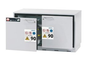 Fire-resistant underbench cabinet for hazardous material GU 111, with 1 sliding sump pallet, grey-w280px