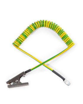 Mini spiral earthing cable with 1 stainless steel clamp 60 mm and 1 eye, 3 m extended length, ATEX-w280px