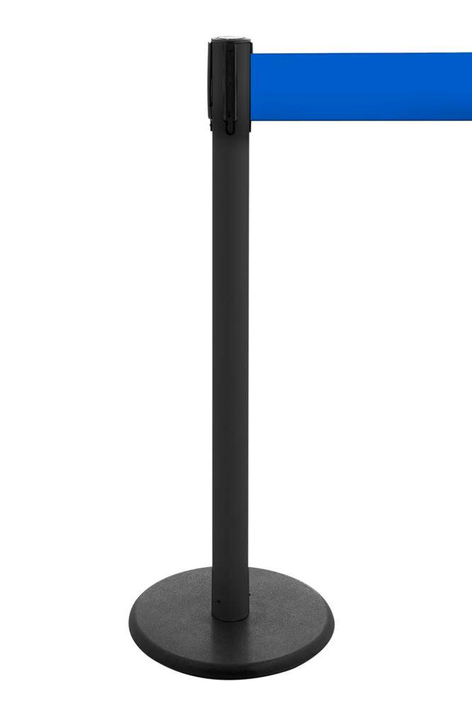 Tape barrier systems Traffico, Model 2.9, black posts, belt blue, can be extended to 3.80