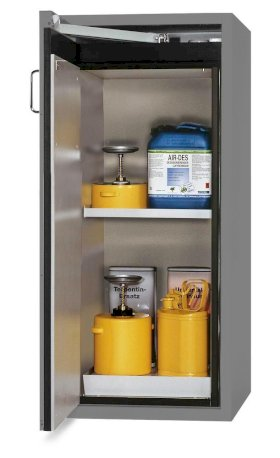 Fire-resistant hazardous materials cabinet G 600-F, door opening left, grey-w280px