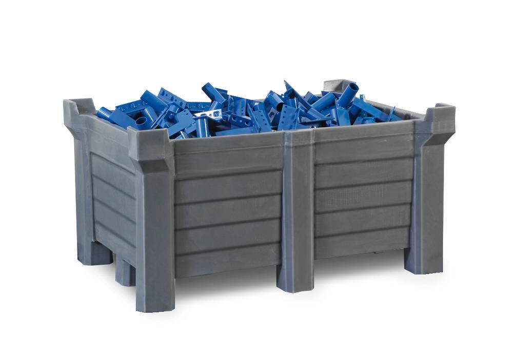 Stackable container of polyethylene (PE) 300 litre contents, 280 litre capacity, closed, grey