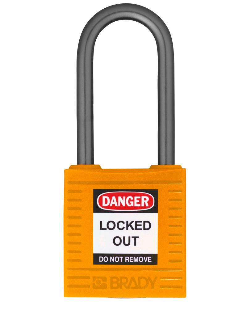 Compact safety lock, keyed different, clear shackle height 38 mm, orange, 6 pcs.