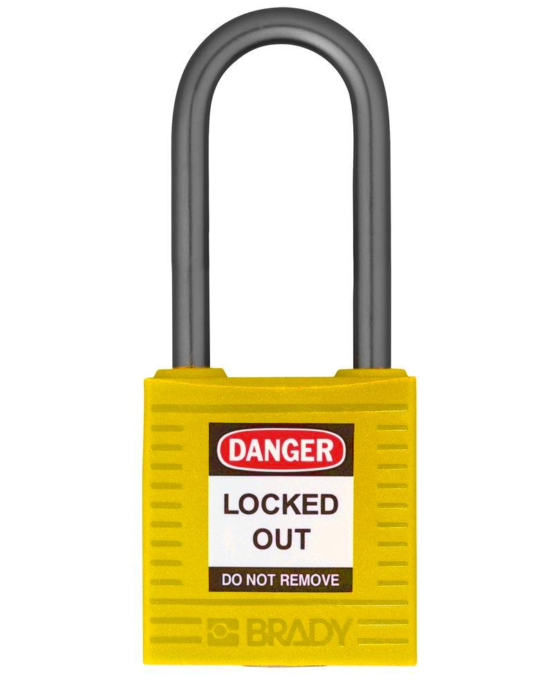 Compact safety lock, keyed different, clear shackle height 38 mm, yellow, 6 pcs.