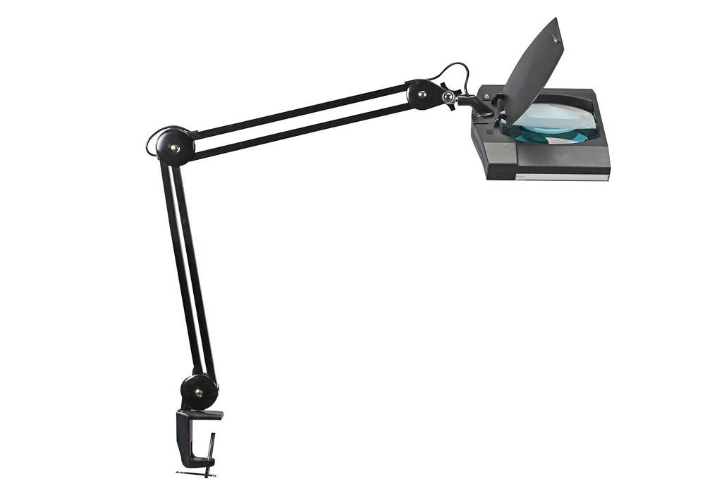 LED magnifier lamp Delmos, with clamp, black