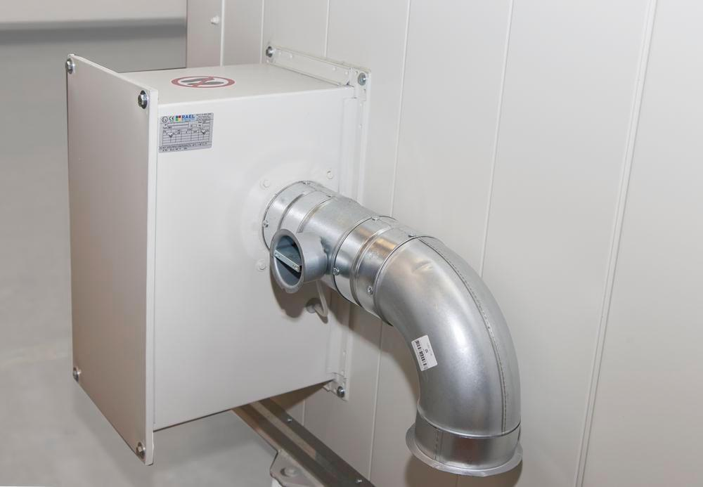 Ventilation with fire protection shut-off device for fire-rated store, 415 m³, explosion-proof - 1