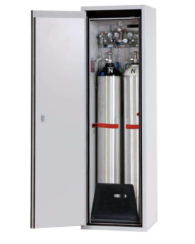 Fire-resistant gas cylinder cabinet G90.6-2F, 600 mm wide, door opening left, grey