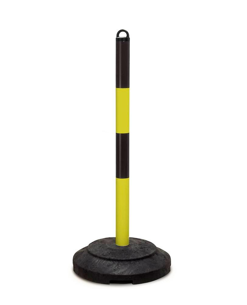 Heavy duty chain barrier post, black/yellow, recycled plastic base, 1000 mm high