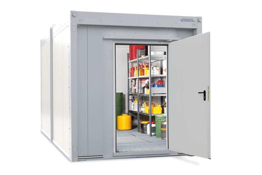 Walk-in fire-rated storage container WFP-M 14 with 1-wing door on the short side, 14 m²