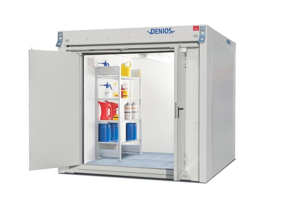 Walk-in fire-rated storage container WFP-M 6 with 2-wing door on the short side, 6 m²