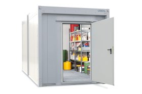 Walk-in fire-rated storage container WFP-X 14 with 1-wing door on the short side, 14 m²-w280px
