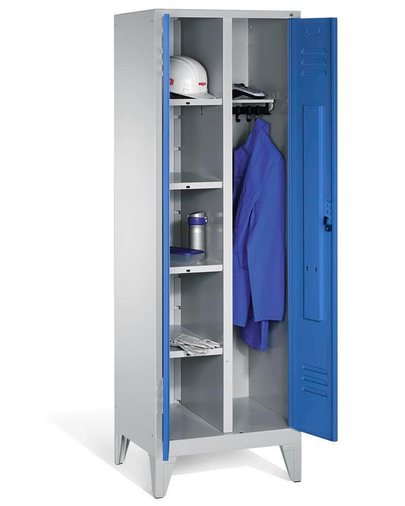 Locker Cabo 4 shelves, clothes rail, W 610, D 500, H 1850 mm, feet, grey/blue