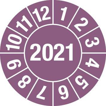Test sticker 2021, violet, film 30mm, sheet/15 stickers