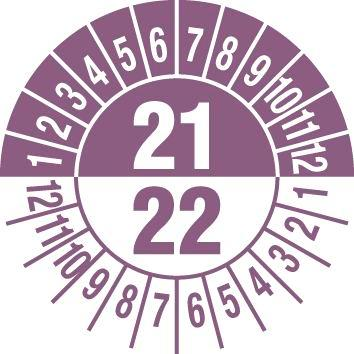 "Test sticker ""21/ 22"", violet, film 30mm, sheet/15 stickers"