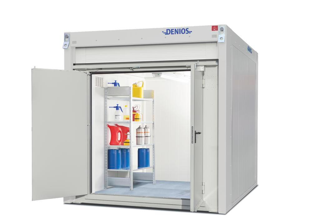 Walk-in fire-rated storage container WFP-X 6 with 2-wing door on the short side, 6 m²