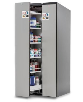 Wide-Scoper, fire-rated HazMat cabinet 81-8, 2 vertical pull-outs, 8 shelves, door grey-w280px