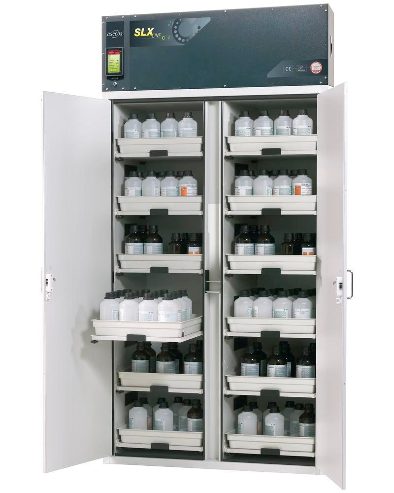 Acid and alkali vent. cabinet Custos, with 12 slide-out shelves, Model C-1212