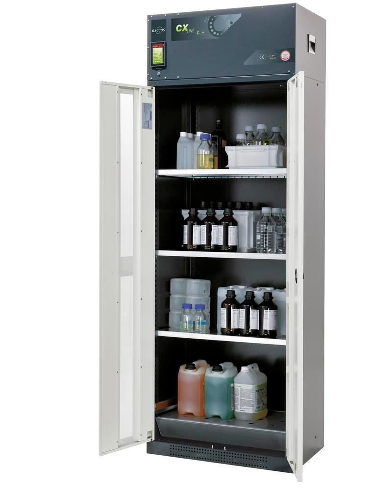 asecos chemical ventilated cabinet Custos, doors grey, 3 shelves and spill pallet, Model C-83