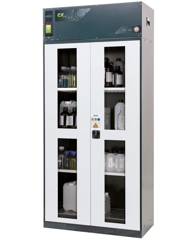 asecos chemical ventilated cabinet Custos, doors white, 3 shelves and spill pallet, Model C-103