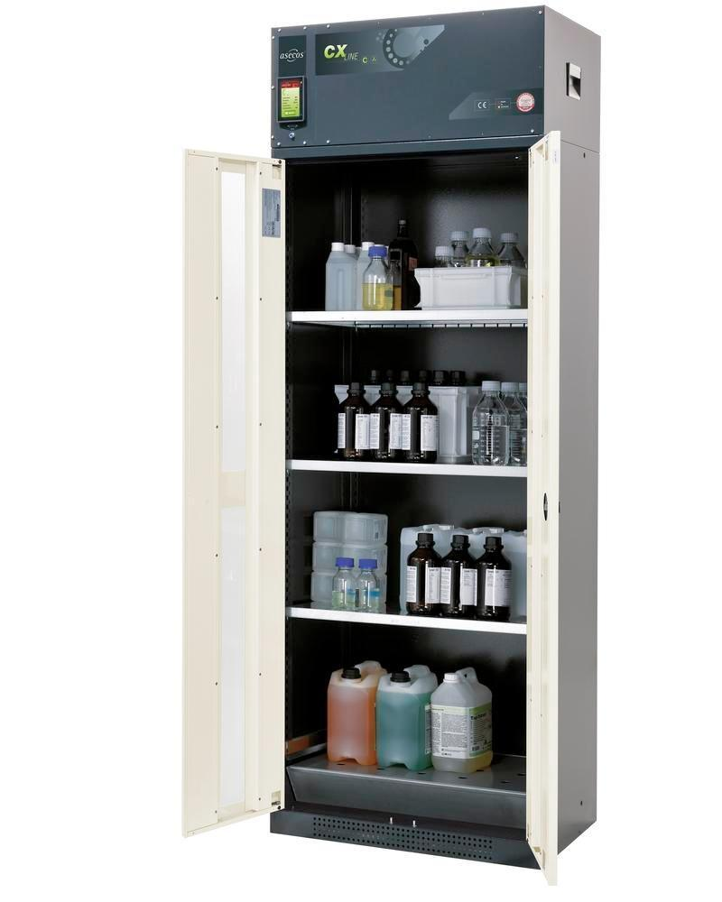 asecos chemical ventilated cabinet Custos, doors white, 3 shelves and spill pallet, Model C-83