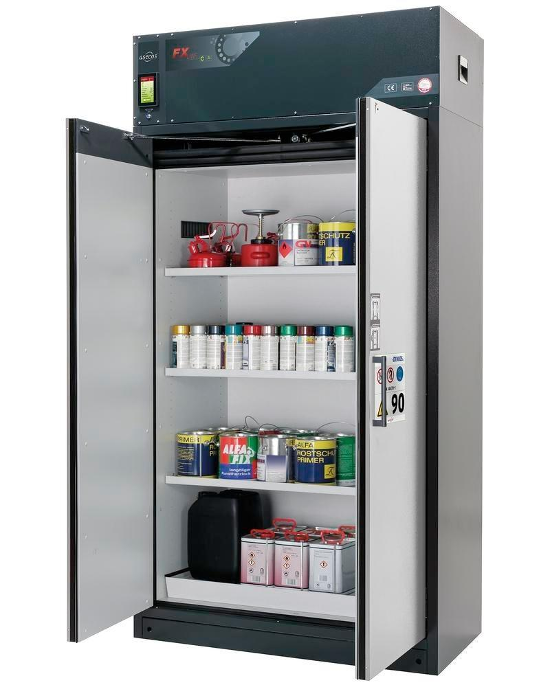 asecos fire-rated ventilated hazmat cabinet Custos, doors grey, with 3 shelves, Model E-123
