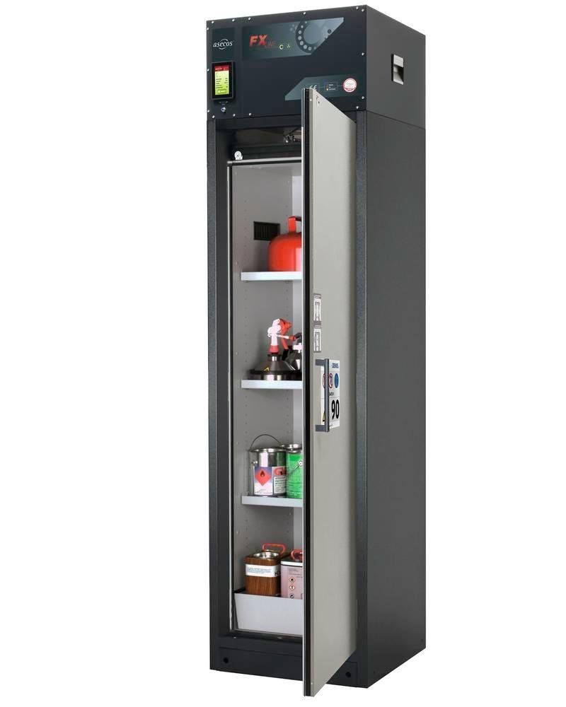 asecos fire-rated ventilated hazmat cabinet Custos, grey, 3 shelves, door hinged right, Model A-63