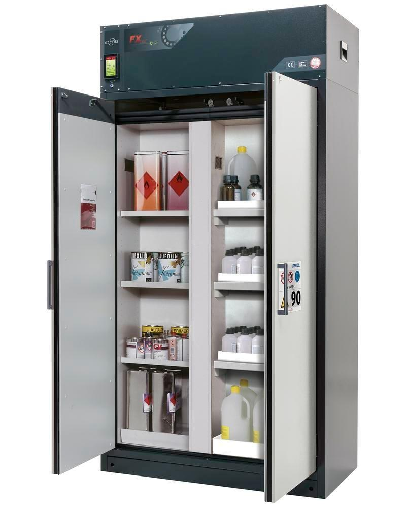 asecos fire-rated ventilated hazmat cabinet Custos, grey, 3 shelves, with partition wall