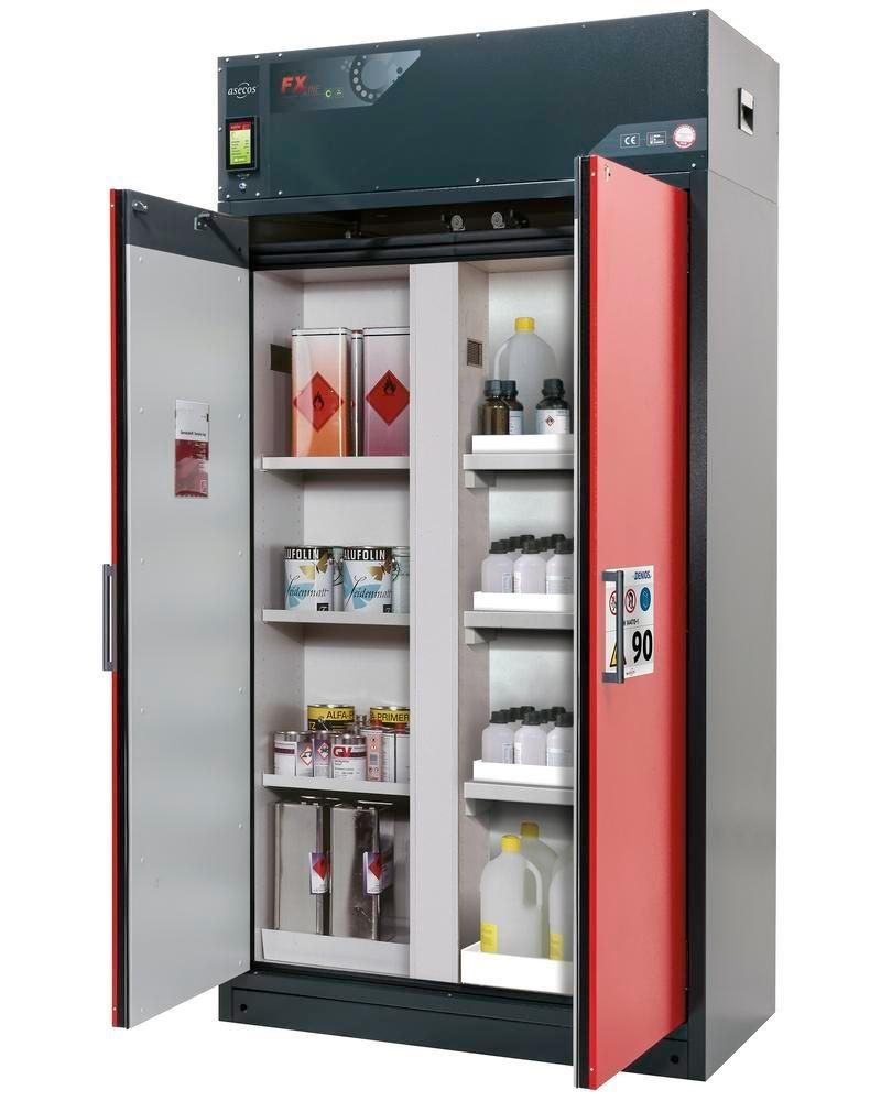 asecos fire-rated ventilated hazmat cabinet Custos, red, 3 shelves, with partition wall