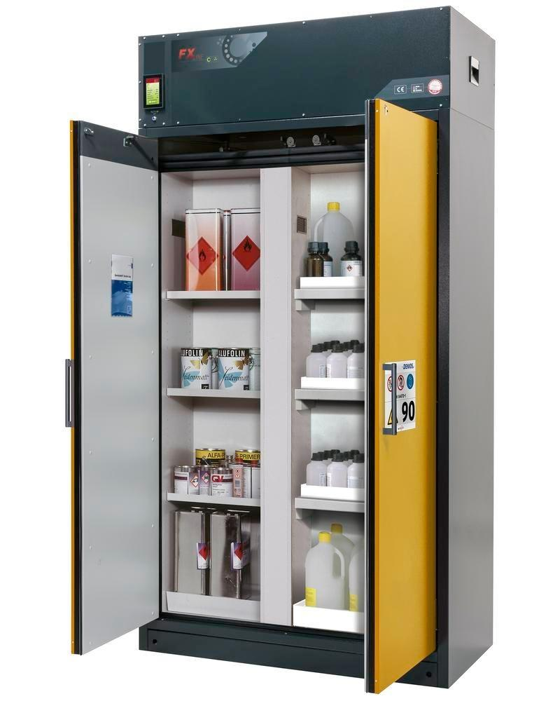 asecos fire-rated ventilated hazmat cabinet Custos, yellow, 3 shelves, with partition wall