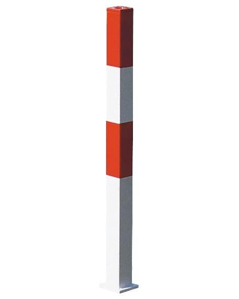 Barrier post, hot dip galv. and painted red-white, use with anchor bolts, 70 x 70 mm, no chain eye