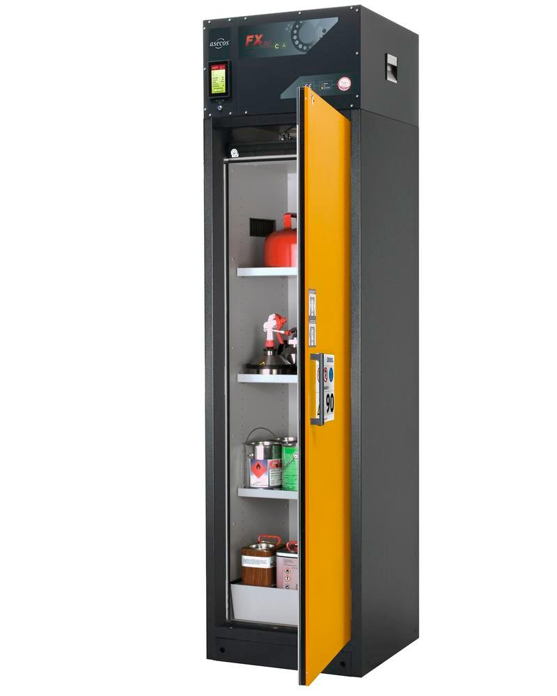 Fire-rated vent. HazMat cabinet Custos, door yellow, 3 shelves, door closes right, Model A-63