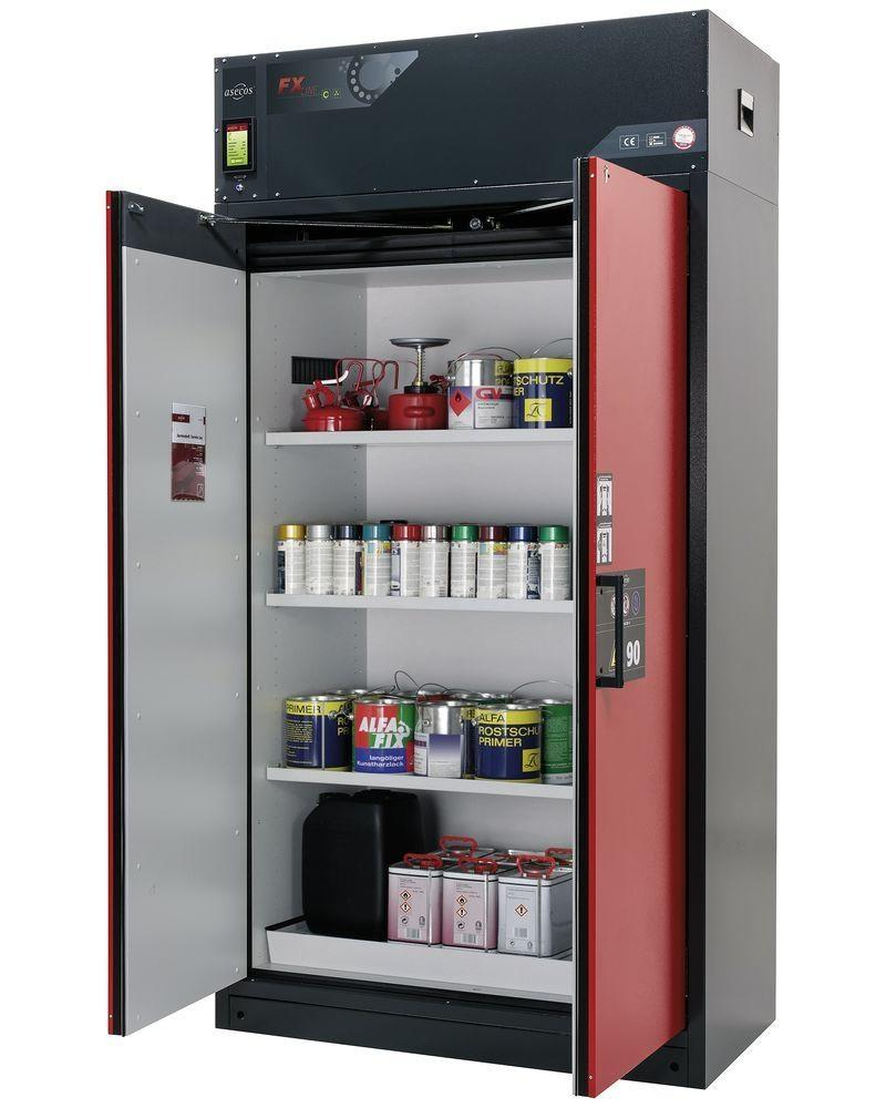 Fire-rated vent. HazMat cabinet Custos, doors red, with 3 shelves, Model E-123