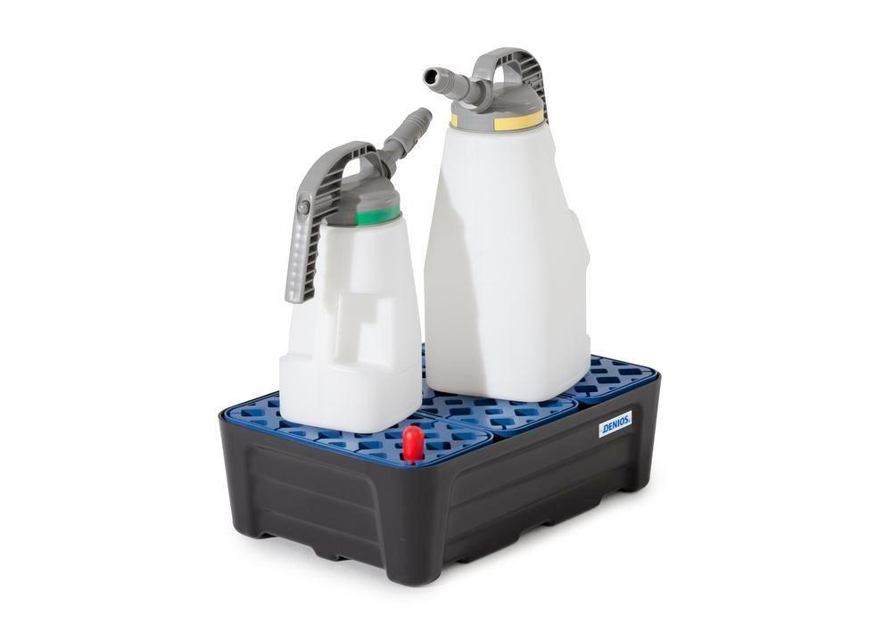 Spill tray for small containers pro-line in polyethylene (PE) with PE grid, 35 litres, 592x400x185