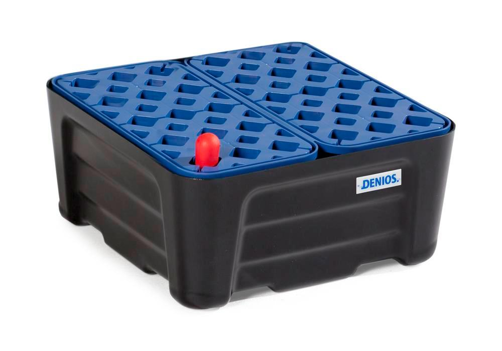 Spill trays for small containers SC-P 20, in PE, with PE grid, containment volume 20 litres