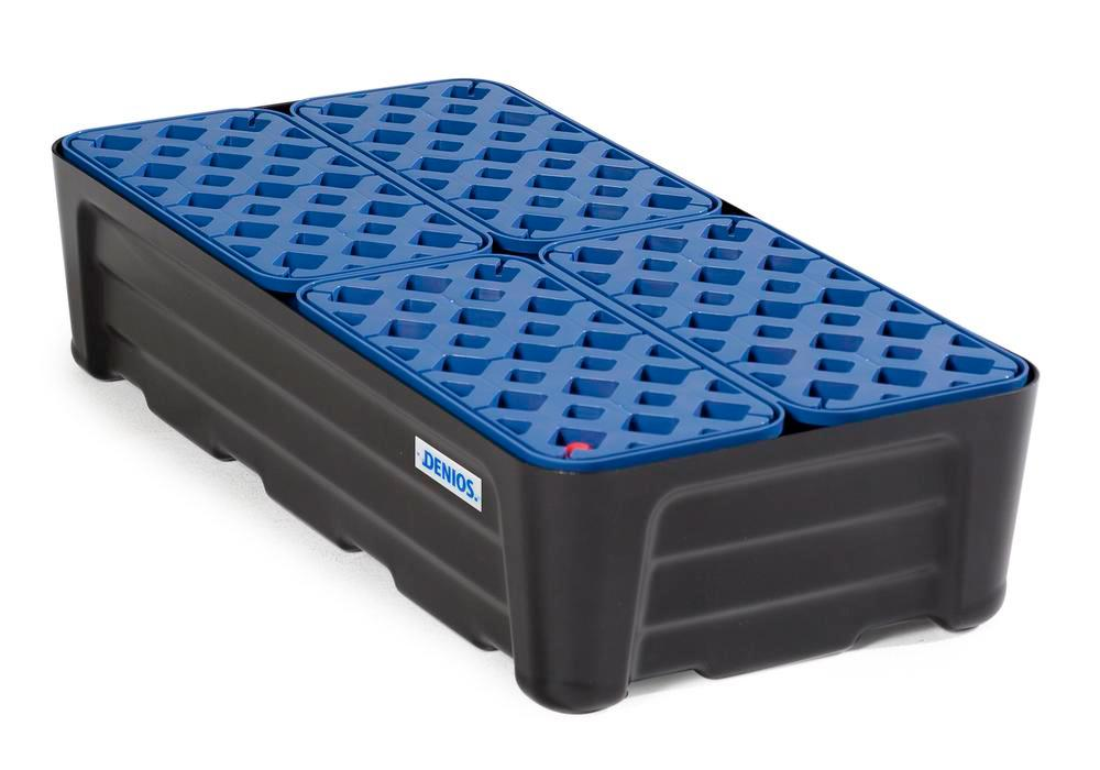 Spill trays for small containers SC-P 40, in PE, with PE grid, containment volume 40 litres