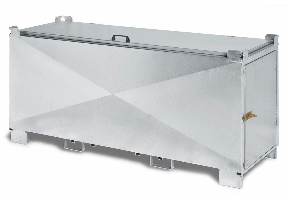 Safety container for fluorescent tubes, ADR transport approval, steel, door, hinged lid, L=1670 mm