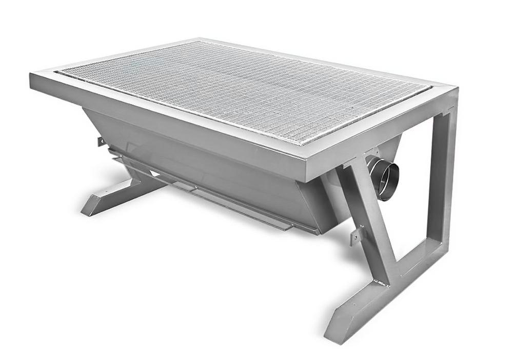 Underfloor extraction table, work surface W 1400 x D 900 mm