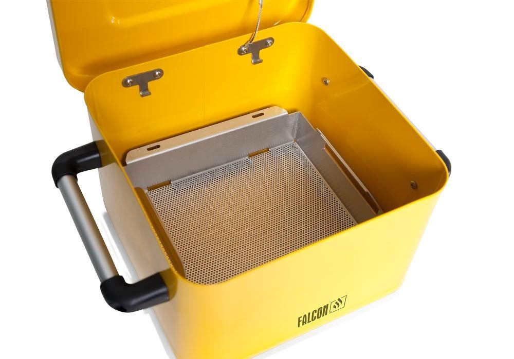 FALCON small parts cleaner in steel, painted, with parts basket, 8 litres