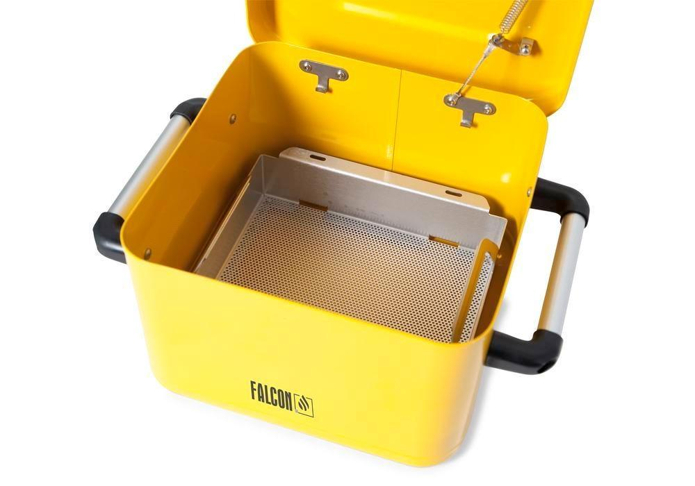 FALCON small parts cleaner in steel, painted, with parts basket, 8 litres - 5