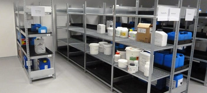 Hazardous substances and chemicals in storage rooms