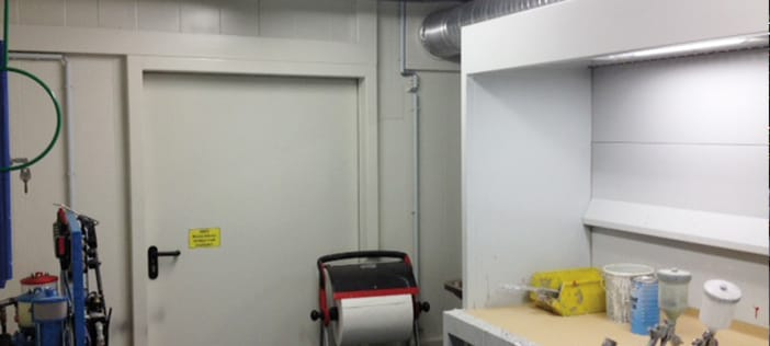 Paint mixing room in fire-rated storage container